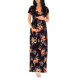 c488d2bfc pregnancy dress Womens Nursing Pregnancy Dress Floral Printing Maternity  Long photography Clothing Mother vestido