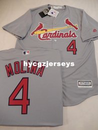 cool base jersey cheap Australia - Cheap baseball MENS St Louis #4 YADIER MOLINA Sewn COOL BASE Jersey GRAY Mens stitched jerseys Big And Tall SIZE XS-6XL For sale