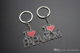 $enCountryForm.capitalKeyWord NZ - New I Love Papa MAMA Keychain Car Key Rings Creative Letter Keyrings Red Love Heart Key Chain Bag Pendant For Mother Father Day Gift G308S F
