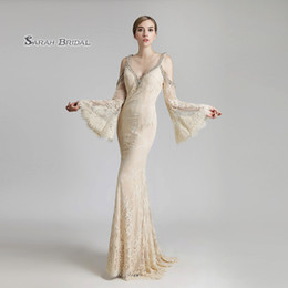$enCountryForm.capitalKeyWord NZ - 2019 Mermaid Champagne Full Lace Backless Long Sleeves Prom Dresses Floor Length Beaded Sexy Evening Backless Party Gowns LX503