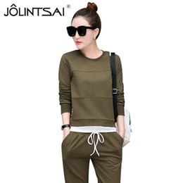 Wholesale Korean Casual Sporting Suits Solid Color Women Tracksuits Plus Size Faux Two Piece Hoodies Pant Sporting Wear Piece Set