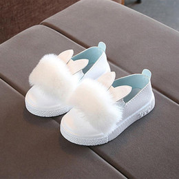 babies shoes for girls NZ - Cute toddlers baby girls rabbit ear pompom shoes for children kids Winter Brand New shoes for girls
