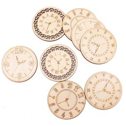 carved wood gifts Australia - Mini Round Wood Circle Discs Laser Engraved Clock Chips 45mm DIY Wooden Clock Round Slices Party Wall Decoration Wood Craft