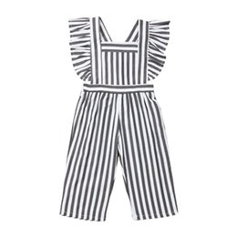 China Toddler Baby Girls Striped Ruffle Jumpsuit Long Pants Fly Sleeve Rompers Overalls One Piece Outfit Summer Clothes cheap toddler striped overalls suppliers