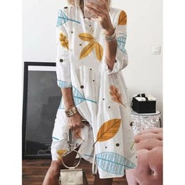 Chinese  Bohemia Half Sleeve Dress Women 2019 Summer Leaves Printed Beach Dress Casual Loose O Neck Knee-length Vacation Clothes manufacturers