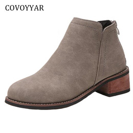 $enCountryForm.capitalKeyWord Australia - COVOYYAR 2019 Concise Ankle Boots Women Autumn Square Heel Martin Booties Shoes Back Zip Black Red Women Shoes Plus Sizes WBS847