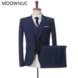 Trouser Vest Sets NZ - Jacket Trousers Vest Wedding dress Suits Two sets three sets Business Men Classic High-quality Suits MOOWMUC MWC 2019 4XL Brand