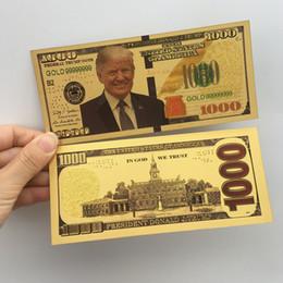 Donald Trump dólar estadounidense Presidente de billetes de oro Bills de láminas Moneda conmemorativa Crafts América Elección General Supply15.3 * 6.5cm E3408 en venta