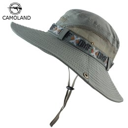 military hat wholesale Canada - UPF 50+ Bucket Hat Summer Men Women Boonie Hat Outdoor UV Protection Wide Brim Military Army Hiking Fishing Tactical Sun Hat Cap