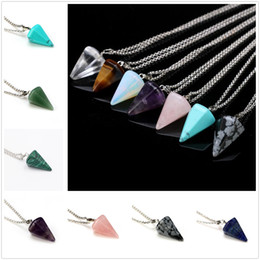 $enCountryForm.capitalKeyWord Australia - Hot Wonderful Artificial Crystal Conical Pendant Necklace Charm Alloy Chain Jewelry Unisex Lovely Gifts Free Shipping
