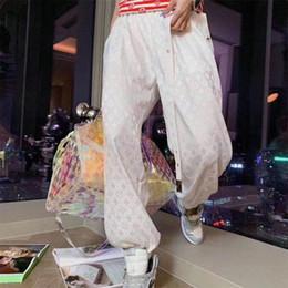 Wholesale print wide pants elastic waist for sale – dress Quick web celebrity crocheted slacks for women elasticated waist lace up pants for women thin silk satin ice cotton bunched leg pants for wo
