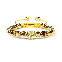 MacraMe aniMal online shopping - Men Panther Cz Bracelets mm Natural Stone Beads With Green And Black CZ Leopard Macrame Stainless Steel Jewelry