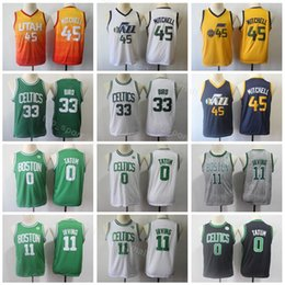 d1e194ef01b Youth Donovan 45 Mitchell Jerseys Kids Basketball Boy Kyrie Irving 11 Larry  Bird 33 Jayson 0 Tatum Edition City Children White