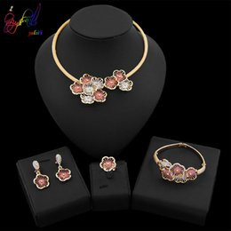 $enCountryForm.capitalKeyWord Australia - Yulaili Indian Women Rose Gold Color Flower Shape African Bridal Nigeria Wedding Jewelry Sets Choker Necklace Crystal Pendant Earrings Ring