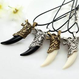 $enCountryForm.capitalKeyWord Australia - Fashion Mens Vintage Whhite Black Wolf Tooth Pendant Alloy Necklace Man Necklace Chain Leather Necklace Jewelry Wholesale