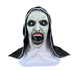 Discount female latex face mask - New Spiritual 2 Nun Mask Halloween Horror Scary Female Ghost Face Happy Party Props Costume Accessories