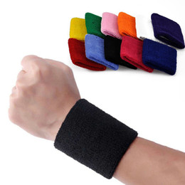 terry wrist band wholesale UK - Terry Cloth Wristbands Sport Sweatband Hand Band Sweat Wrist Support Brace Wraps Guards For Gym Volleyball Basketball Towel Bracers M226F