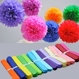 paper garland wholesale Australia - Holiday Supplies 10inch (25cm) Fluffy Tissue Paper Pom Poms Hanging Rose Flower Balls Garlands Wedding Baby Shower Party Decoration