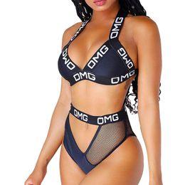b9789e263 Women s Sexy Thong Push Up Padding Brazilian Bikini Black Mesh Patchwork  High Cut Out Halter Letter Swimsuit Women Bathing Suit