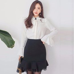 latest ladies fashion dresses 2020 - Korean version of the latest office lady fashion ruffled bow white shirt + bag hip skirt suit cheap latest ladies fashio