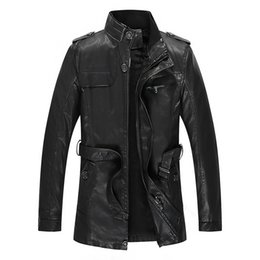Wholesale leather craft lace resale online - 2019 New Style MEN S Leather Coat Autumn And Winter plus Velvet Mid length Leather Jacket Slim Fit Pu Washing Craft Fashion Men