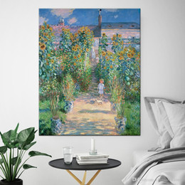 abstract oil prints Australia - vA. Famous Claude Monet Garden High Quality Handpainted HD Print Abstract Landscape Art Oil Painting On Canvas Wall Art Home Office Deco l17