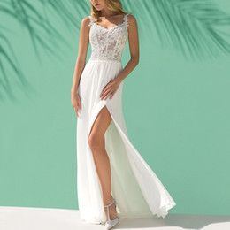 Sheath Wedding Dresses Split Australia - 2019 modern white lace sheath wedding dresses sexy spaghetti side split chiffon beach wedding gowns custom v neck plus size bridal dress
