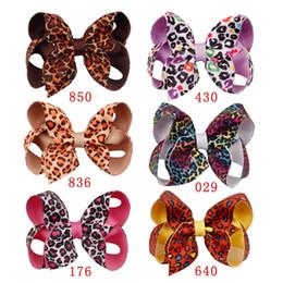 Double Clip For Hair Australia - 4'' 6 Pcs Lot Leopard Printed Hair Bows for Girls Double Layers Grosgrain Ribbon Hair Clip Kids Hairgrips Hair Accessories