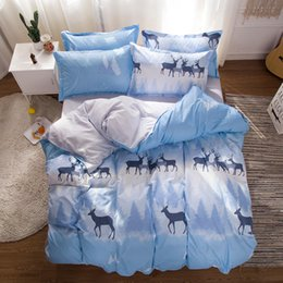 california king beds 2019 - Nordic soft modern printing sanding AB version aloe cotton small fresh 4 sets of environmentally friendly comfortable be