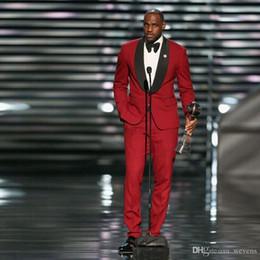 Cheap Black Suits For Men Australia - LeBron James Red Tuxedos Black Shawl Lapel Suits For Men Red Pants Groomsmen Suit 2 Piece Cheap Prom Formal Suits