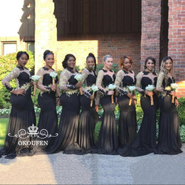 Light coraL Lace dress Long online shopping - 2k17 Sheer Neck Mermaid Bridesmaid Dresses With Long Sleeves Mermaid Women Black Stretchy Spandex Gold Appliques Prom Dress