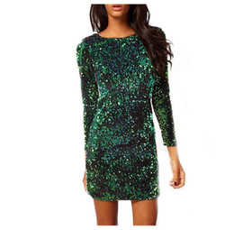 Green black pencil dress online shopping - New Spring Summer Style Dress Women O Neck Long Sleeve paillette Sequins Backless Bodycon Slim Pencil Party Dresses