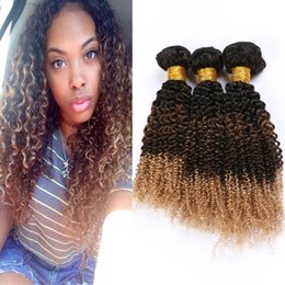 Dark blonDe virgin brazilian hair online shopping - B Ombre Kinky Curly Brazilian Human Hair Weave Bundles Honey Blonde Dark Roots Virgin Hair Extensions Kinky Curly Three Tone