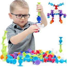 $enCountryForm.capitalKeyWord Australia - Soft Building Blocks Kids Diy Squigz Sucker Funny Silicone Block Model Construction Toys Creative Gifts For Children Boy MX190730