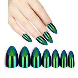 Silver Chrome Hand Painted False Fake Nails Short Square Rounded Oval Artificial Nail Tips
