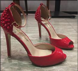 Cloth Red Dress Australia - overseas2019 {Original Box}10cm Heel Red Bottom Heels Dress Shoes Sexy Rivets Spiked Open Toe Stiletto Sandals 34-41