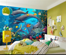 Kids Wallpaper Stickers Australia - custom size 3d photo wallpaper kids room mural underwater world fish dolphins oil painting sofa TV backdrop wallpaper non-woven wall sticker