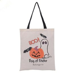 candy door gift UK - Halloween Gifts Sack Bags Pumpkin Devil Handbags Candy Gift Bags Cartoon Canvas Tote Reuseable Spider Print Shoulder Bag