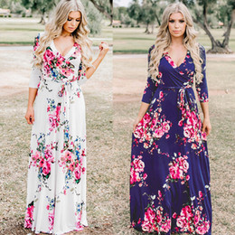 $enCountryForm.capitalKeyWord Australia - Fairy2019 Autumn Woman Clothing New Pattern European Suit-dress V Lead Nine Part Sleeve Printing Dress Goods In Stock