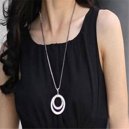 long stylish chain pendant Canada - Stylish Jewelry Long Necklace Sweater Chain 1pc Long Chain Women Crystal Rhinestone Silver Plated Pendant Necklace Choker Drship