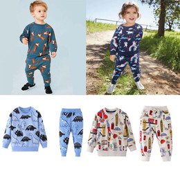 Wholesale dog collar shirts resale online – kids clothing sets boys Kids Cotton Long Sleeve round collar dogs print girl boy s set causal spring autumn girl set t shirt pant