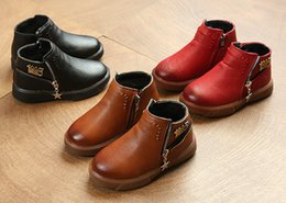 Wholesale Kids Autumn Winter Baby Boys Girls Oxford Shoes Children Dress Boots Kids Fashion Martin Boots PU Leather Boots Black Brown Red EUR26