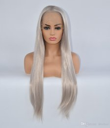 $enCountryForm.capitalKeyWord NZ - Lace Front Gray Wig For Sale Silver Color Free Part 180 Density Heat Resistant Fiber Hair Glueless Grey Synthetic Wigs For White Women
