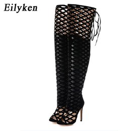 over knee gladiator sandal 2020 - Eilyken Sexy Peep Toe Cut Out Gladiator Over The Knee High Heels Women Sandals Boots Women Night Club Openwork High Boot