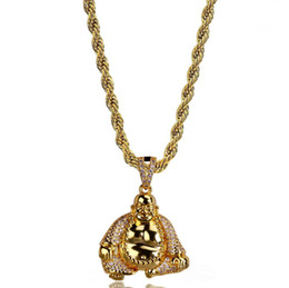 $enCountryForm.capitalKeyWord Australia - Micro Pave Cubic Zircon Maitreya Buddha Necklaces & Pendant 24 Inch Chain Length All Iced Out Bling Necklace for Male K4705
