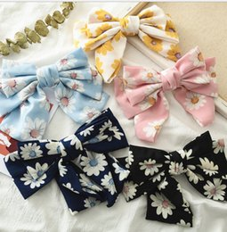 Yellow Barrettes Australia - Girls chiffon Bows hairpins fresh style kids floral printed three layers Bows hair clip barrettes lace-up Bows women hair accesories F7961