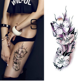 303b3fdef Waterproof temporary tattoos stickers sexy romantic dark rose flowers henna  fake body art flash tattoo sleeve