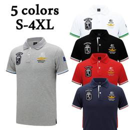 Ingrosso 2018 Tops Uomo ricamo T Shirt Turn-down Collar Abbigliamento S-4XL Designer Polo Camicie Moda Uomo a maniche corte Slim