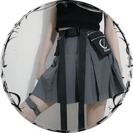 Wholesale fashion harajuku skirt resale online - New Gothic Punk Harajuku Women Shorts Casual Cool Chic Preppy Style Advanced grey Pleate Black Female Fashion Shorts Skirts