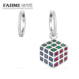 sapphire studs earrings UK - FAHMI 100% 925 Sterling Silver Earrings Women Rubik's Cube Design Earrings AE11009M High Quality Women's Jewelry Free Shipping